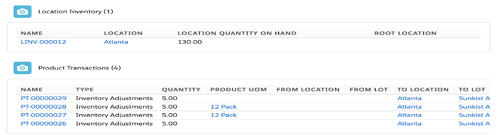 UOM location inventory and product transactions