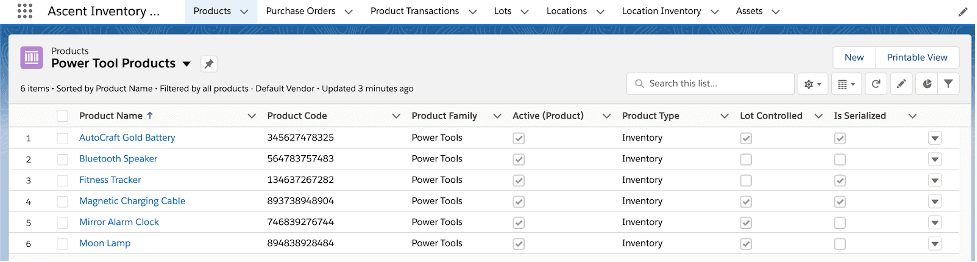 Products List View