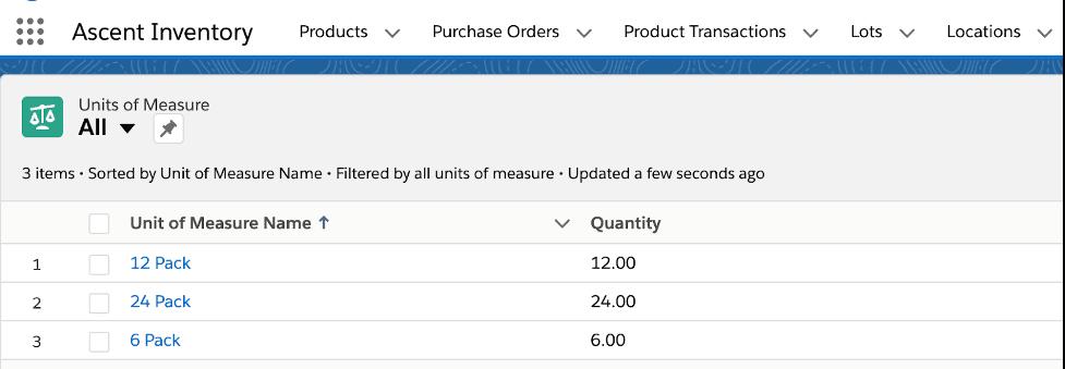 Unit of Measures list