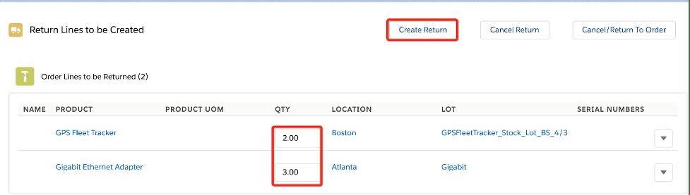 Create return record