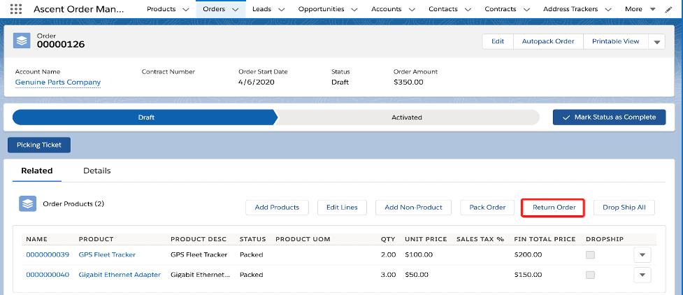 Order details