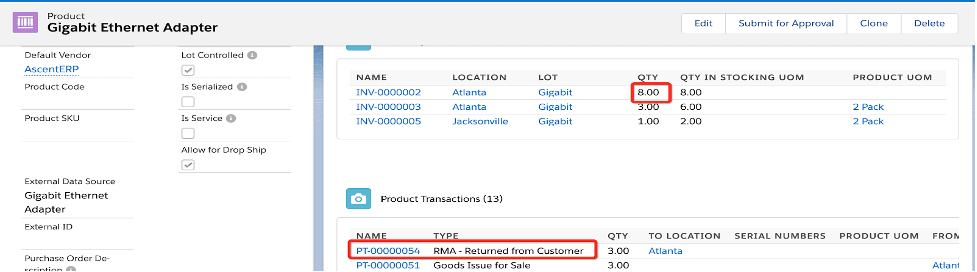 Product with return record