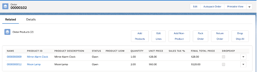 Order with products to be dropshipped