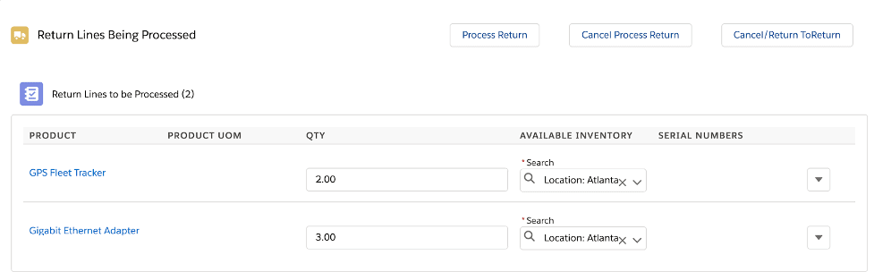 Select return location