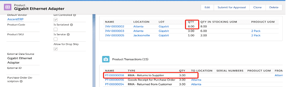 Product Details with returns